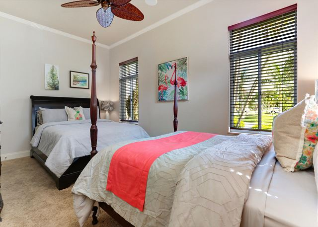 2nd bedroom down the hall from the main master suite - two queen beds and TV with cable