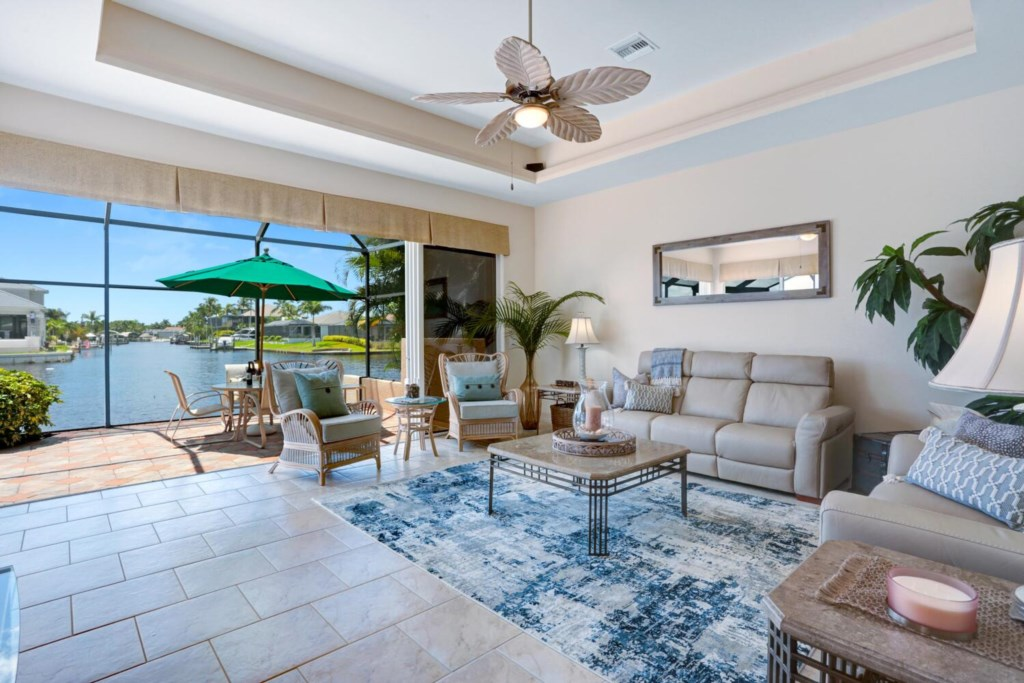 Main living room with long canal views