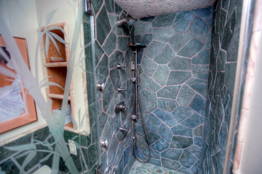 Stone Shower & Etched Glass  Door