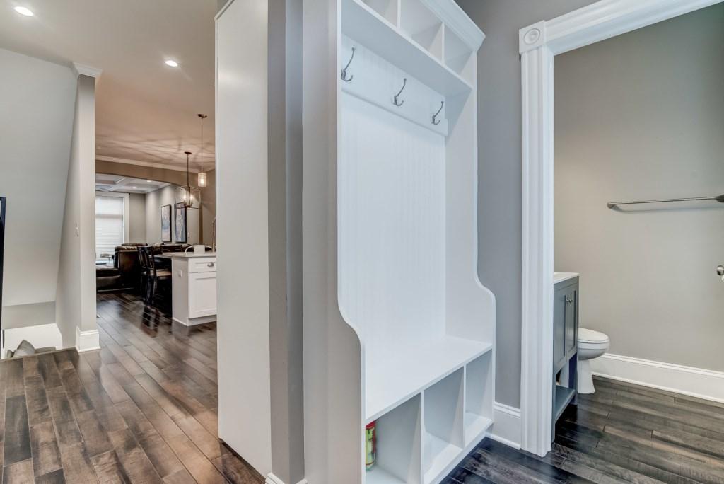 Half Bathroom and Backdoor Storage Area