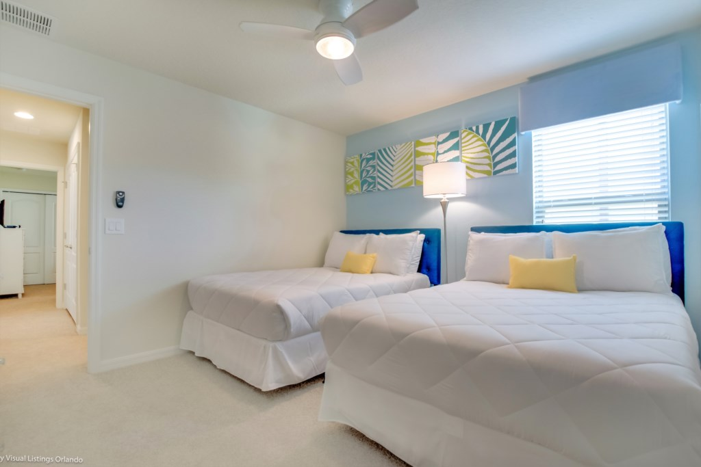 View 2 of pleasant 2 queen size beds with closet and flat screen TV