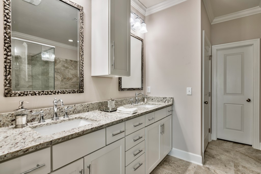 Master Bathroom double vanity and plenty of storage for your items