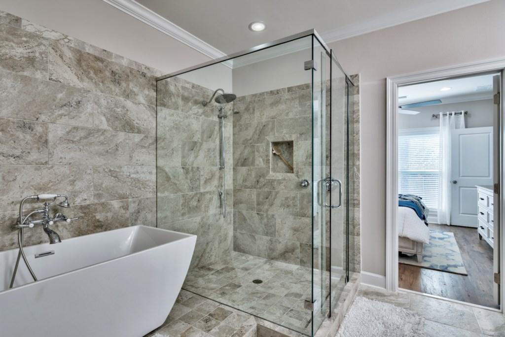 Beautiful Master Bathroom with stand alone soaking tub