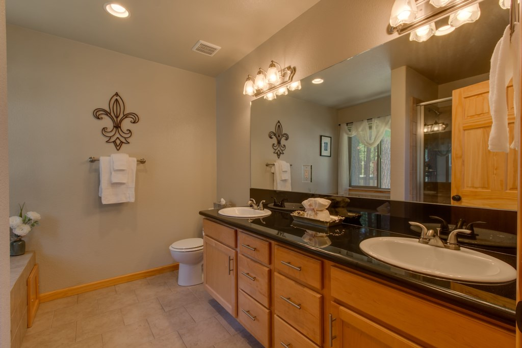 Large Master Bathroom with double vanity for extra storage