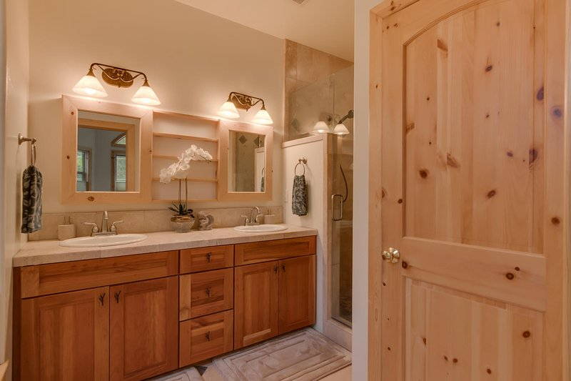 Master Bathroom double vanity sinks and walk-in shower