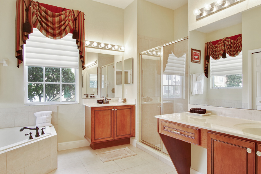 Bathroom 1 - Downstairs Master En-Suite bathroom - large walk in shower, sink, toilet, vanity unit,