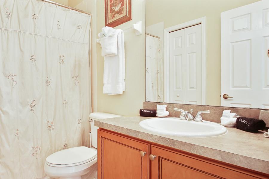 Bathroom 3 - Upstairs hallway bathroom with bathtub/shower overhead, sink, toilet