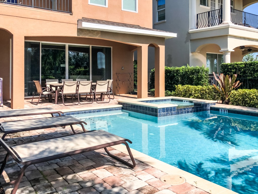 Enjoy sunbathing on the loungers! Rays cover the pool all day long with the south east facing pool!