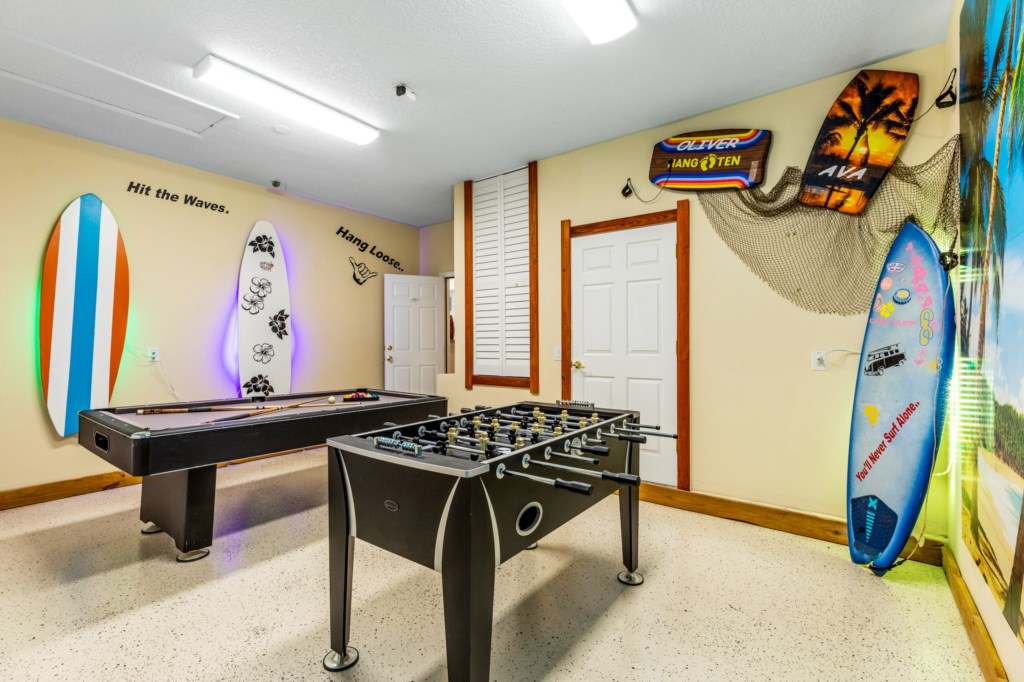 Games room with pool table & foosball