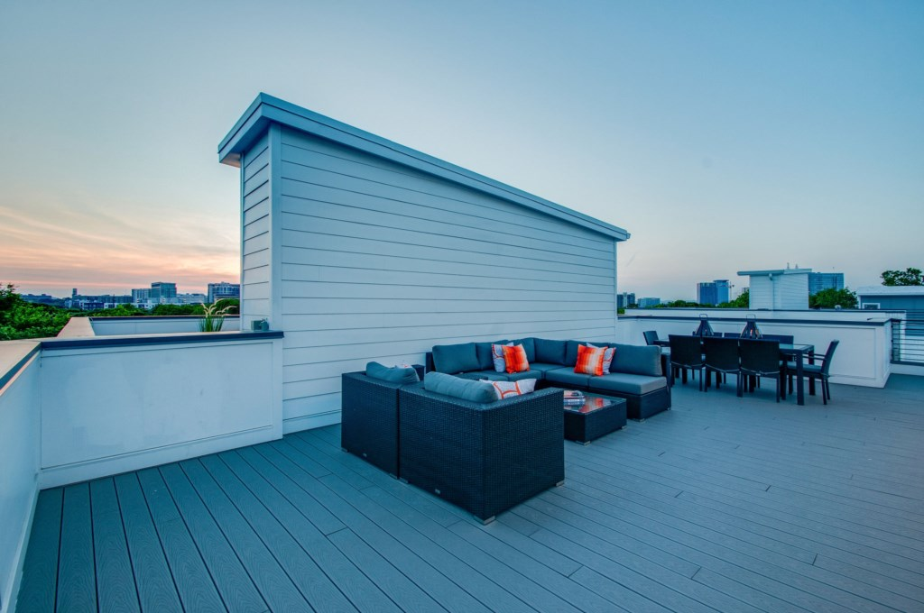 Relax and enjoy Music City sunsets from your private rooftop deck.