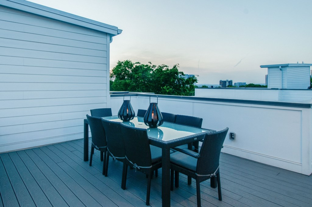 Dine al fresco on your private rooftop.