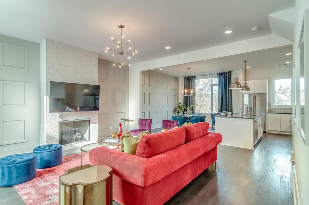 Fireplace, 65 inch LED smart tv, paneled walls, and incredible views from every window!