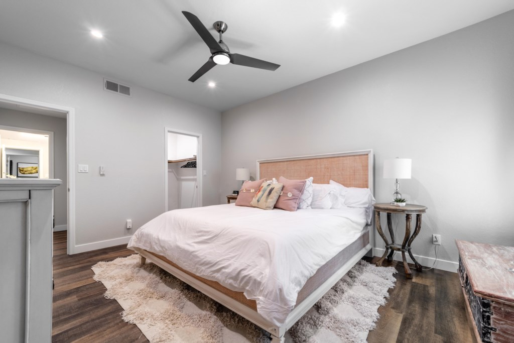 Master bedroom with large walk-in closets