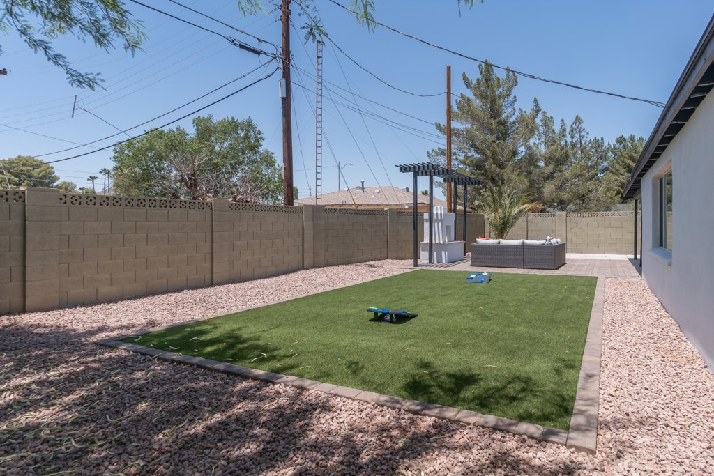 Huge back yard with plenty of yard games available for your stay!