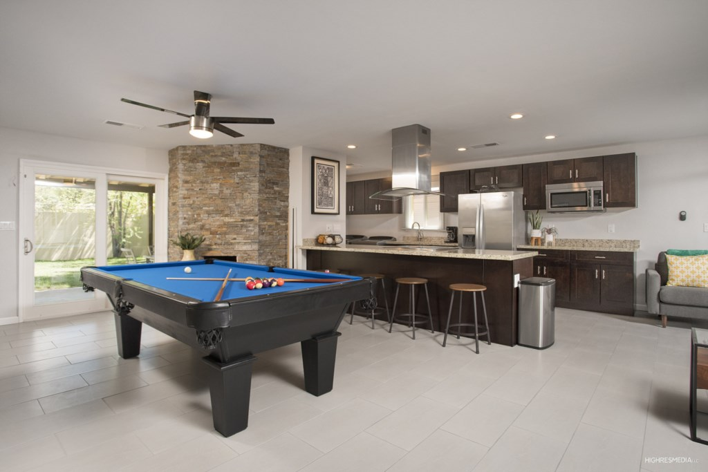 Pool table for entertainment during your stay