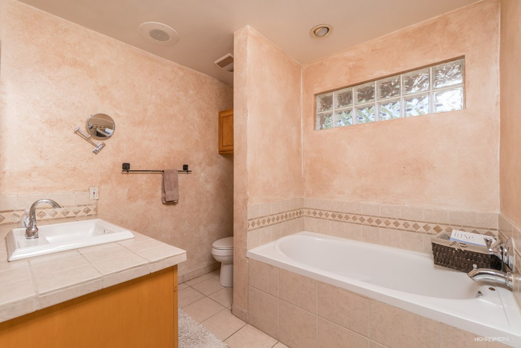 Master Bathroom with large bathtub and walk in shower!