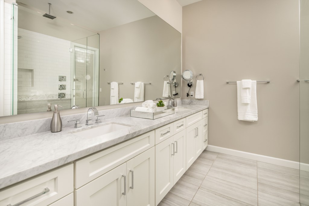Master Bathroom with large Jack and Jill vanity and huge walk in shower