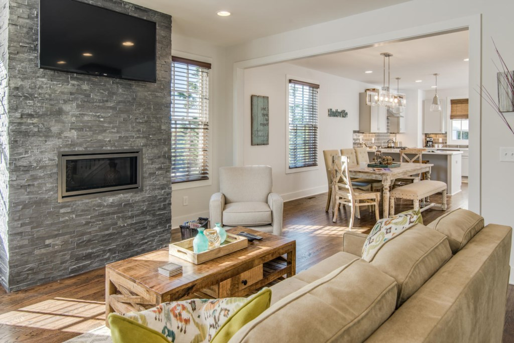 Cozy up next to the beautiful gas fireplace in the living room.