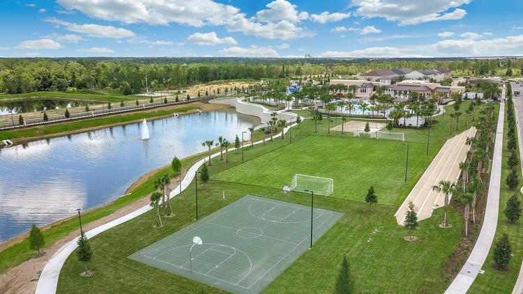 Stadium soccer field, basketball, sand volleyball