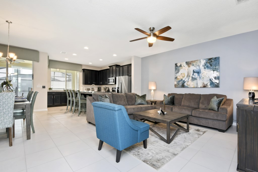 Open concept living, dining, kitchen