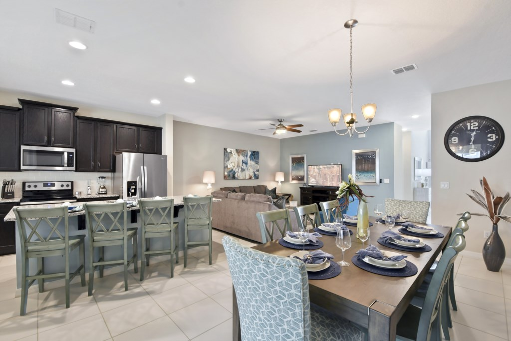 Dining, living, and kitchen view