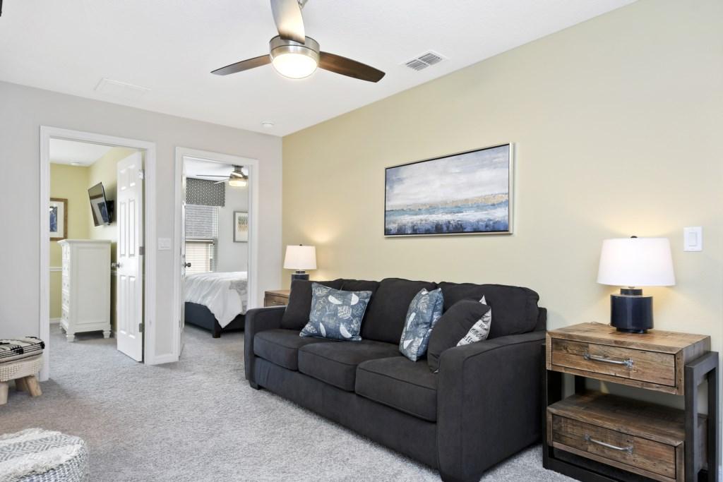 Loft Sleeper Sofa - Bedding, and Ceiling Fan
