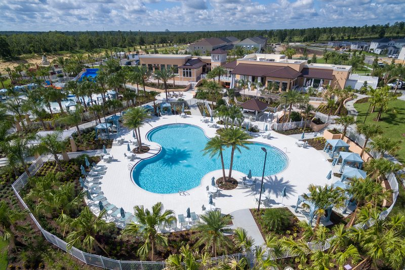 Aerial view of heated pool