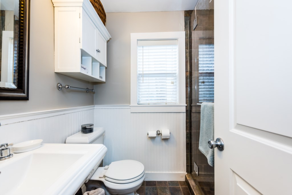 Full bathroom with heated floors