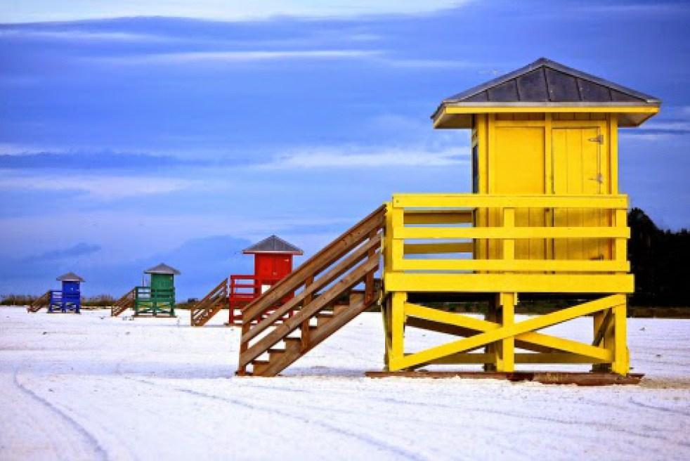 Siesta Key Beach Yellow Lifguard Shack