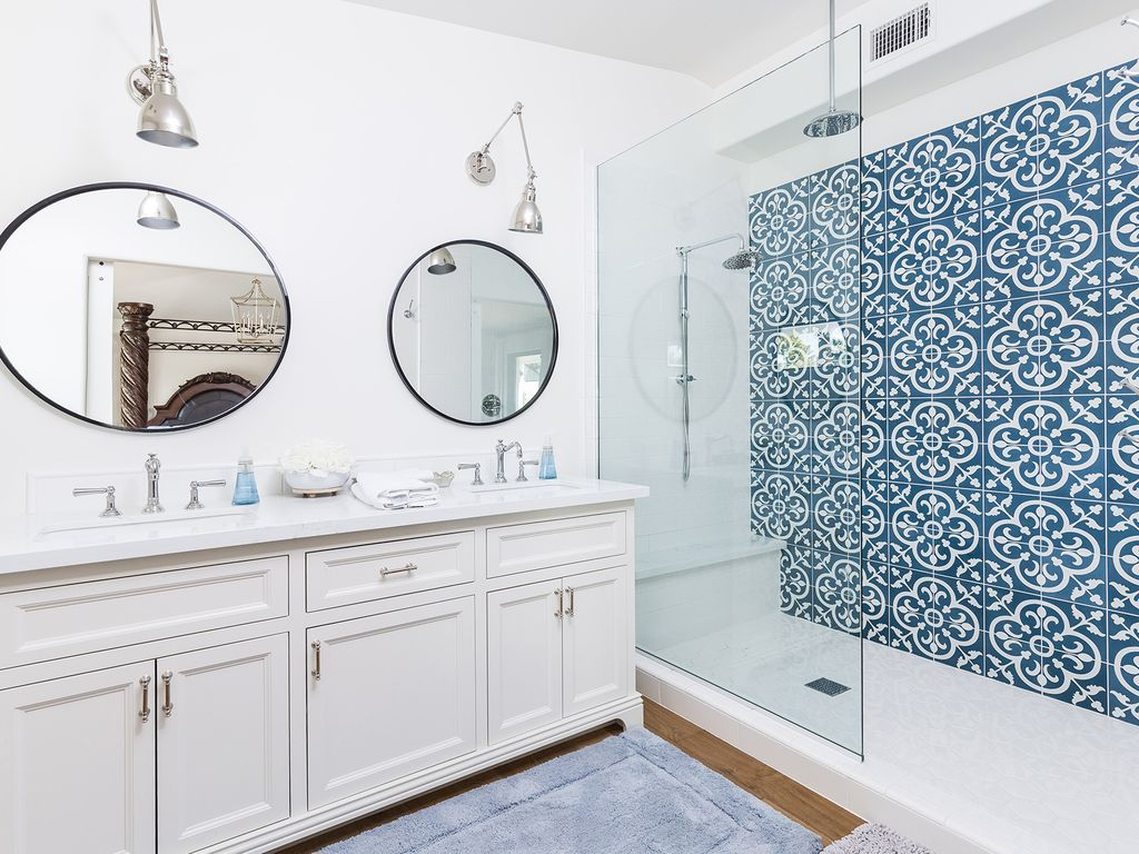 Master Bathroom with huge walk in shower and double sink vanity