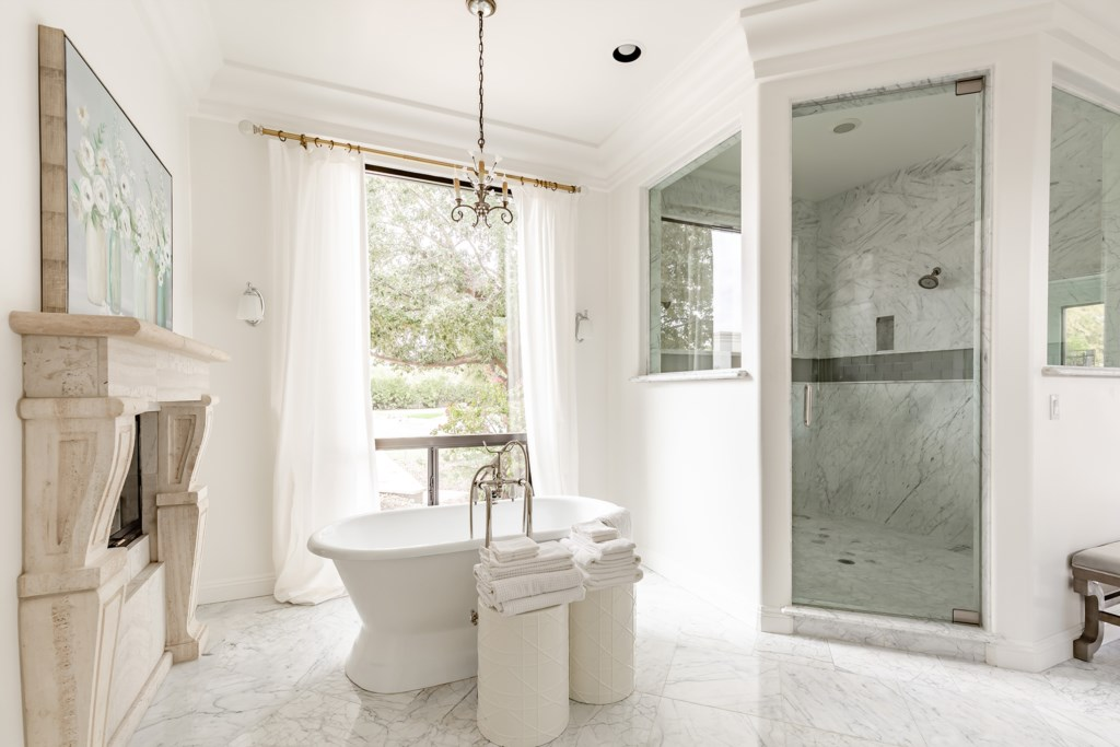 Master bathroom with marble throughout