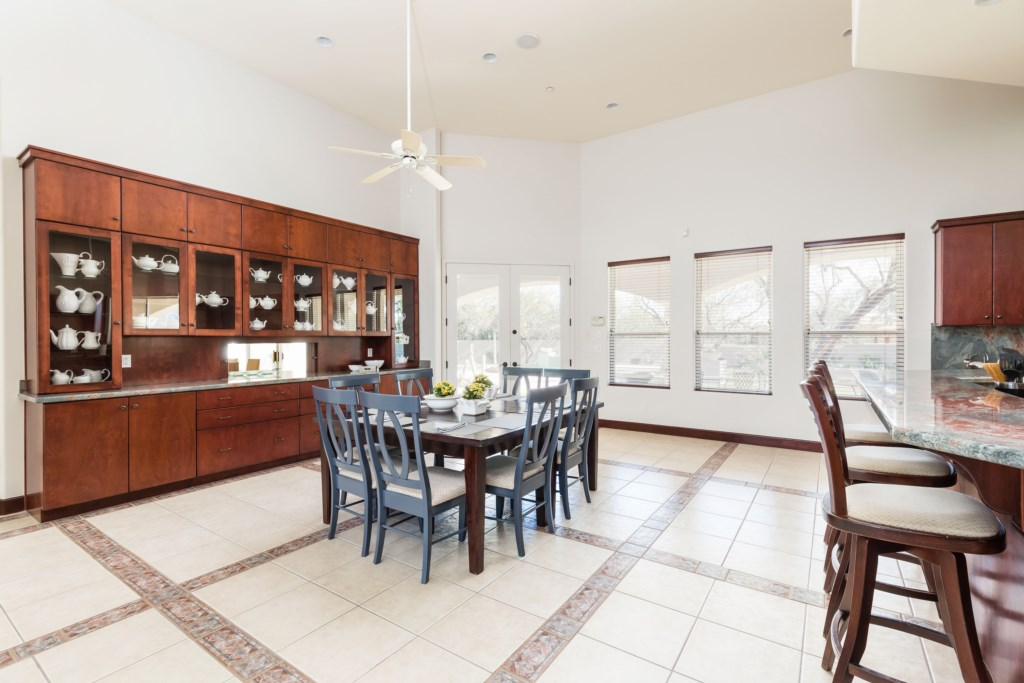 Open concept kitchen and informal dining area