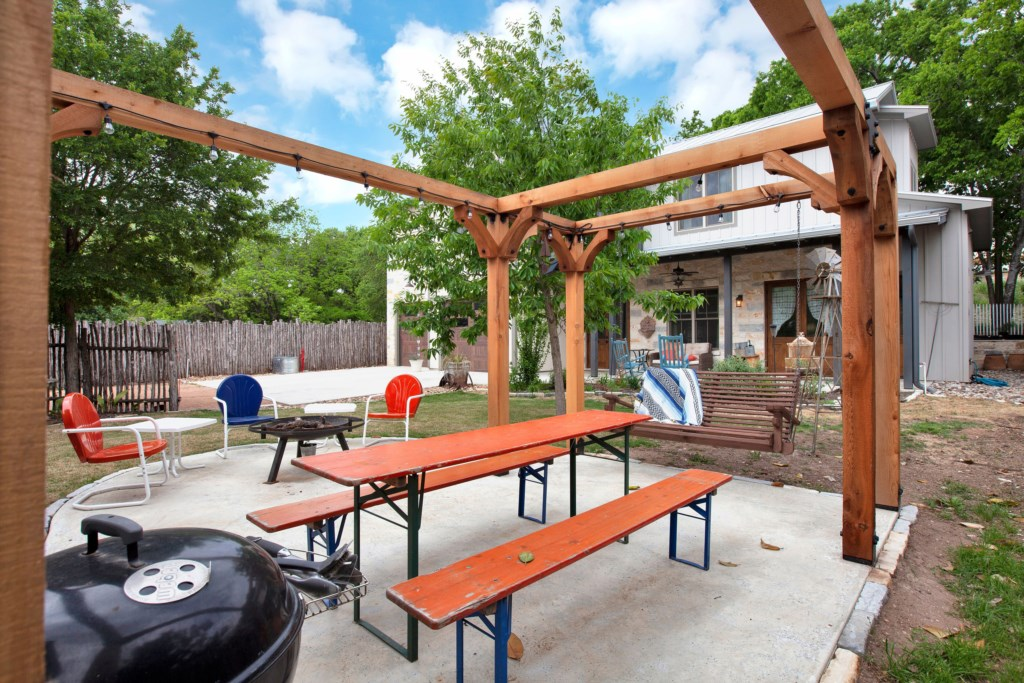 Back House Outdoor Area with Grill and Fire Pit