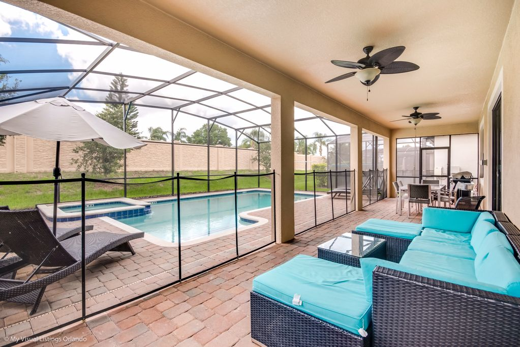 Beautiful pool deck with loungers