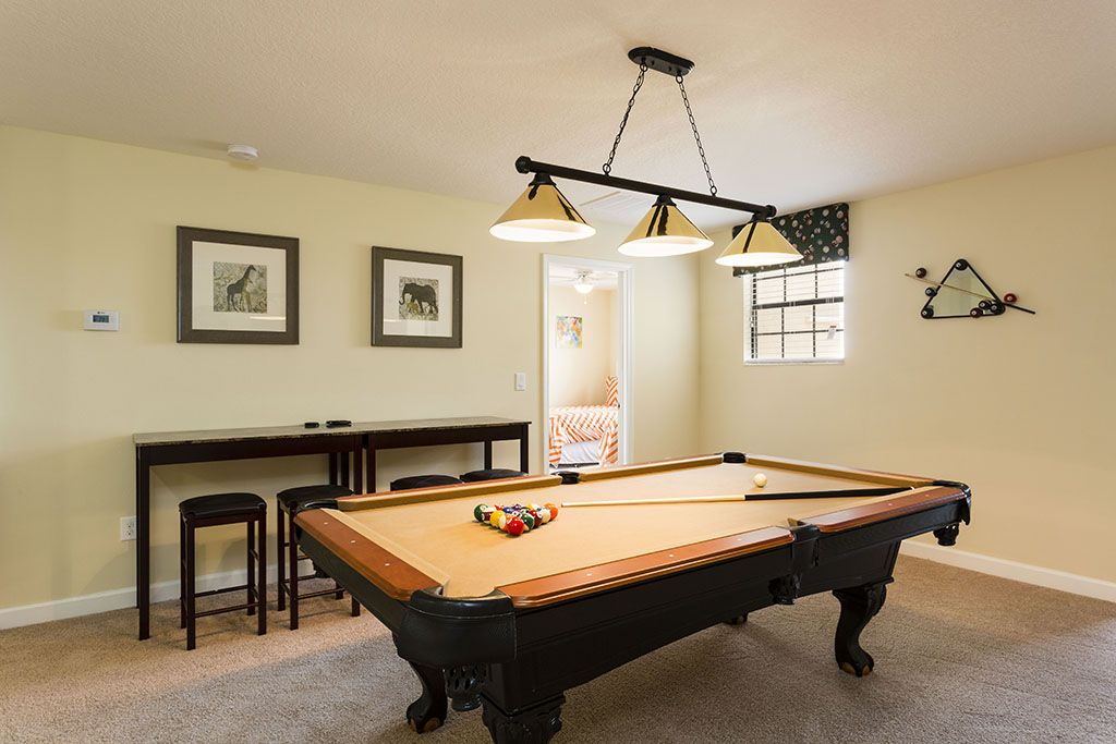 Pool table with barstool seating
