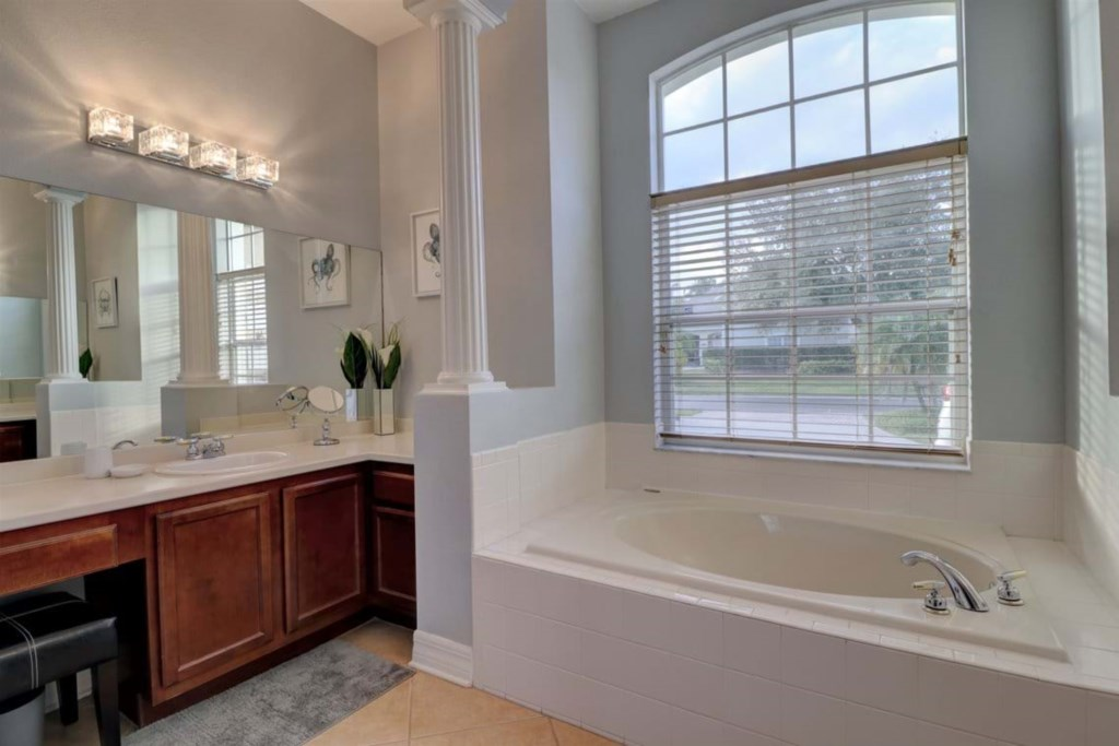 View 2 of amazing bathtub and single sink vanity