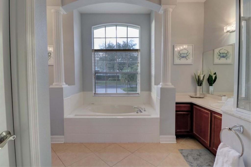 Amazing bath tub in master bathroom