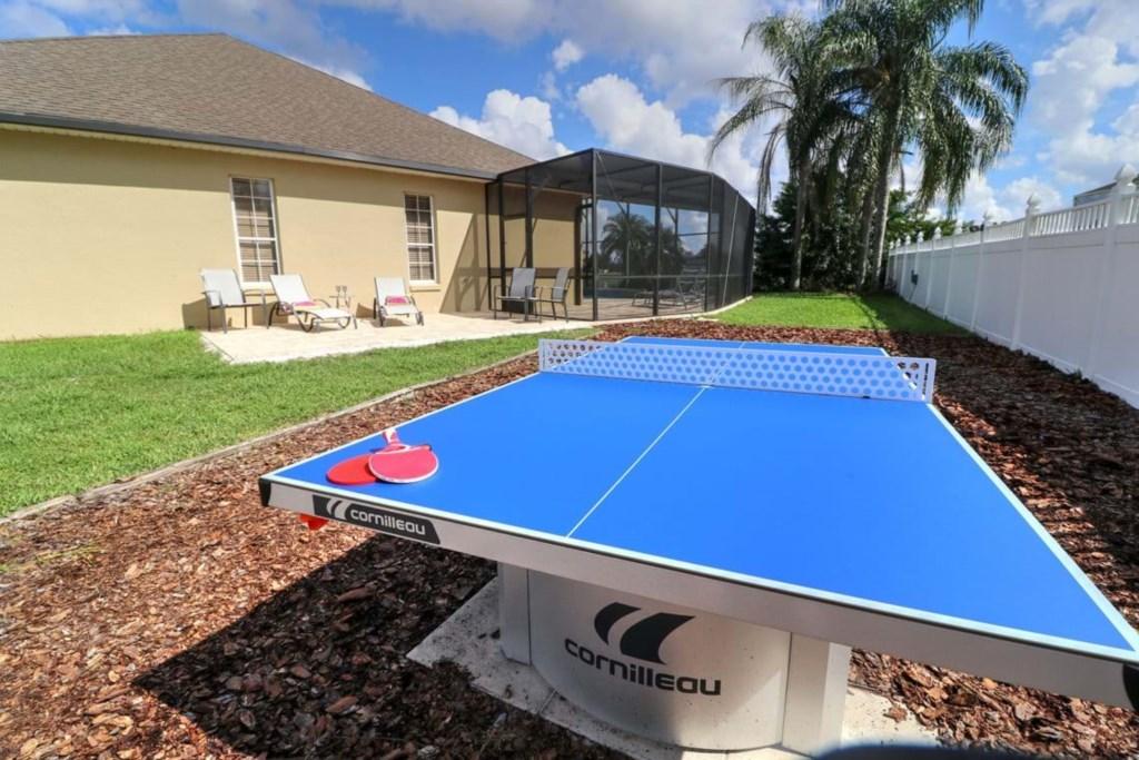 Fun ping pong table in the backyard