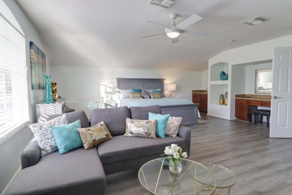 Stunning king size bed including couch and flat screen TV
