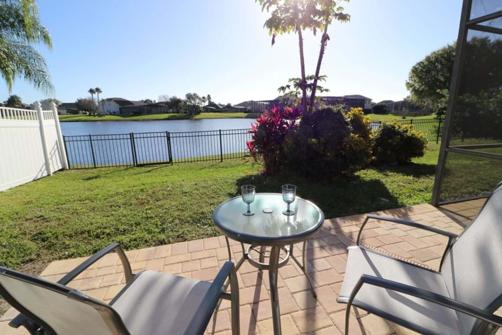Outstanding patio furniture with lake view