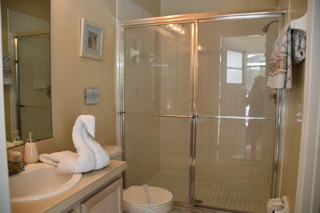 Convenient walk-in shower