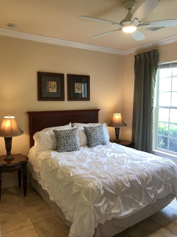 2nd queen bedroom with remote controlled fan SMART TV