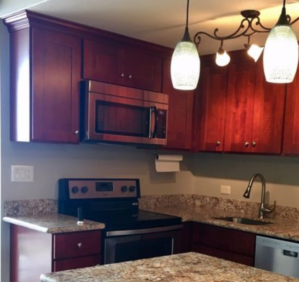 Newly renovated kitchen and appliances.