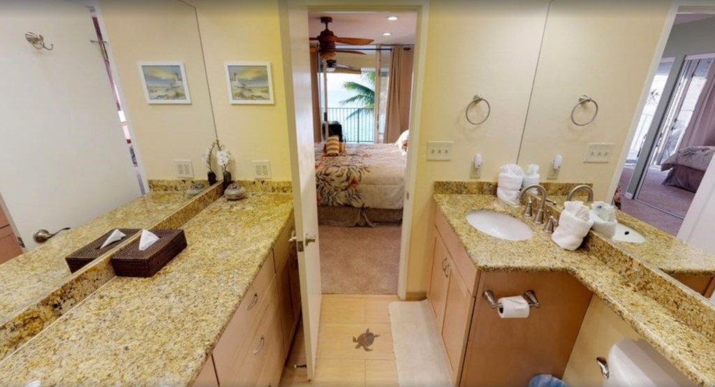 Spacious and well equipped Master bathroom.