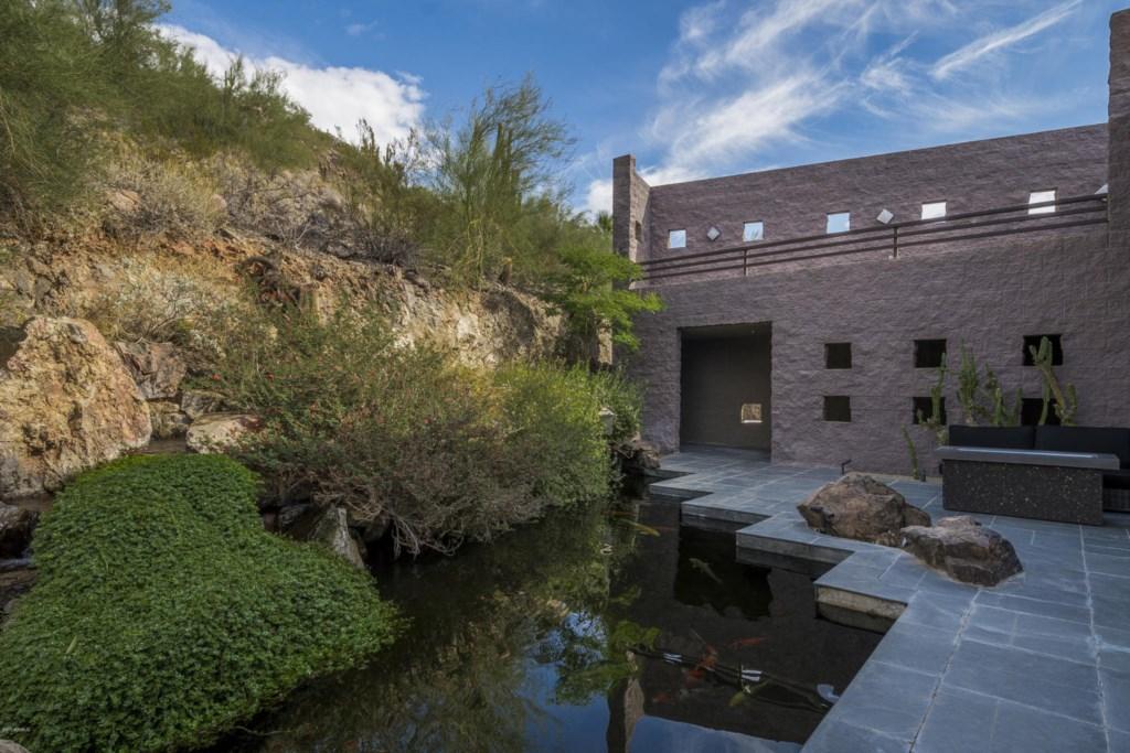 Backyard koi pond & guest house