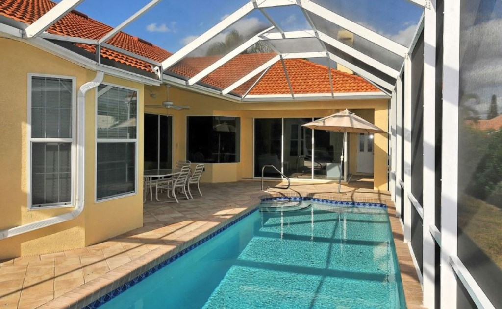 screened-in pool with covered patio