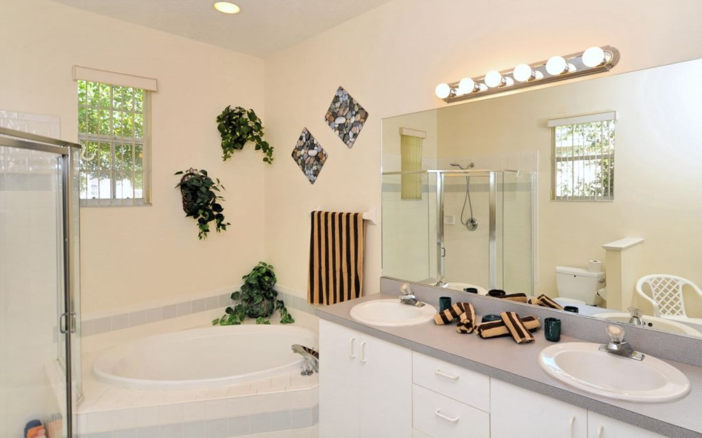 Master bathroom with tub and separate shower