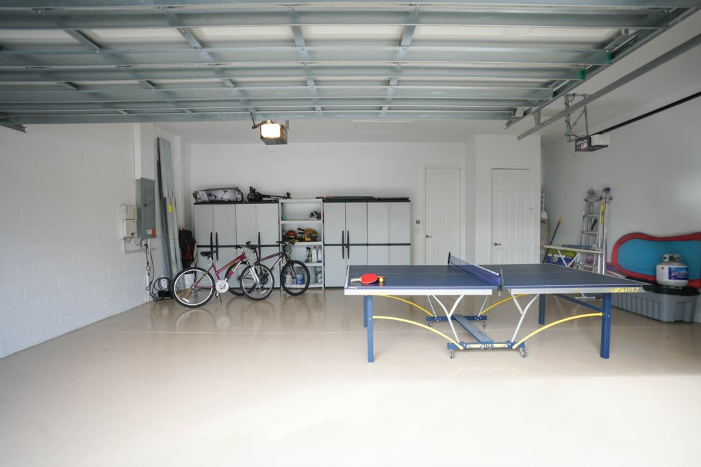 Table tennis in garage