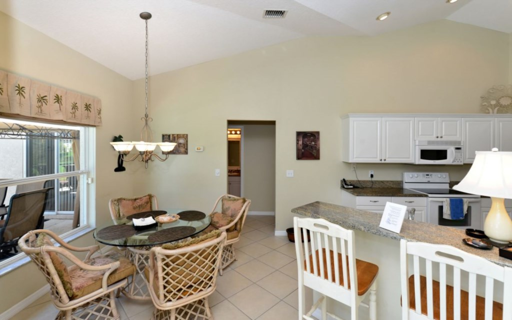 Breakfast nook and open kitchen
