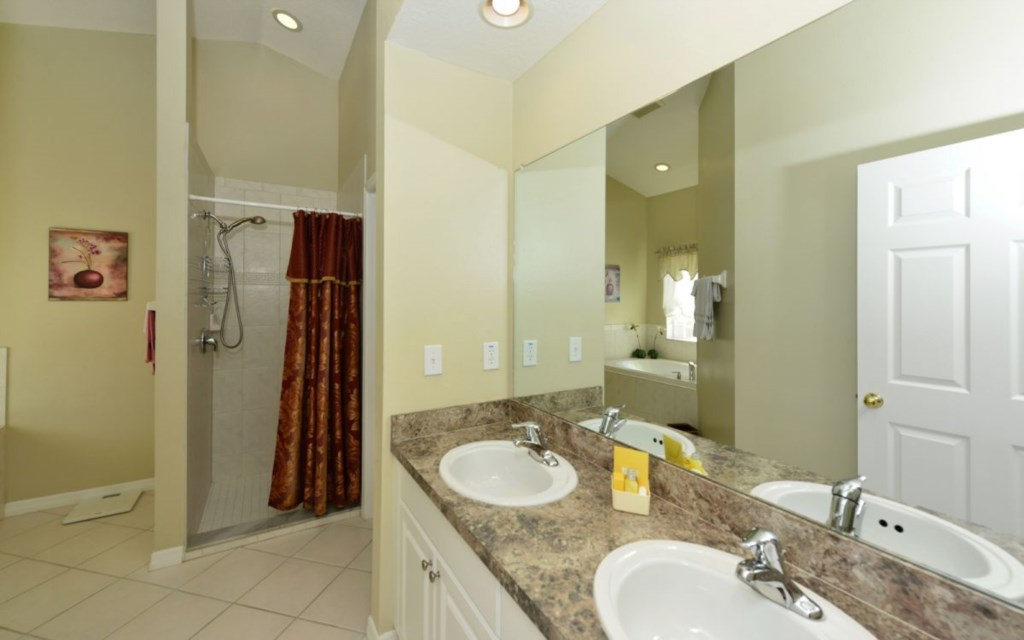 Huge master bath with tub, walk-in shower, double sink and separate toilet